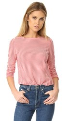La Vie Rebecca Taylor Long Sleeve Striped Tee Soft Red Chalk