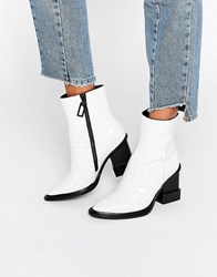 Kat Maconie Paloma White Croc Leather Heeled Ankle Boots White Croc