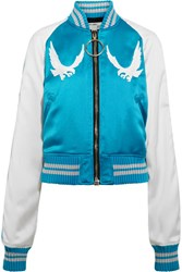 Off White Souvenir Embroidered Satin Bomber Jacket Blue