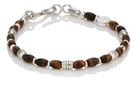 Caputo And Co. Tiger's Eye Sterling Silver Beaded Bracelet Brown
