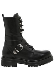 Janetandjanet 30Mm Buckled Leather Combat Boots