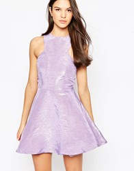 Ax Paris Kick Out Skater Dress In Iredescent Lilac Purple
