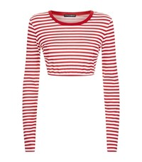 Dolce And Gabbana Cropped Nautical Stripe Top Female Red