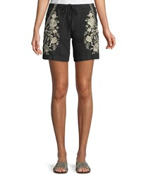 Johnny Was Briar Embroidered Linen Shorts Black