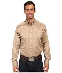 Ariat Solid Twill Shirt Khaki Long Sleeve Button Up