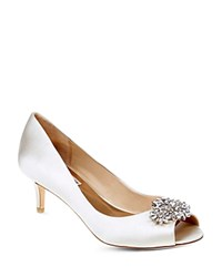 Badgley Mischka Nakita Satin Embellished Peep Toe Pumps Ivory