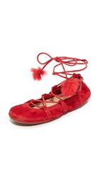 Yosi Samra Seleste Lace Up Flats Garnet Red