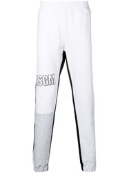 Msgm Logo Embroidered Jogging Bottoms White