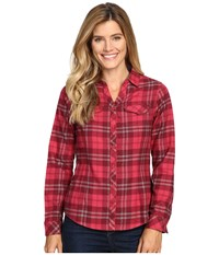 Columbia Simply Put Ii Flannel Shirt Red Orchid Large Plaid Women's Long Sleeve Button Up