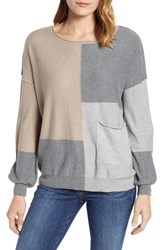Wit And Wisdom Colorblock Sweater Taupe Heather Grey