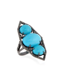 Bavna Champagne Diamond And Turquoise Cocktail Ring Size 7