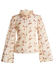 Luisa Beccaria Floral Embroidered Ruffled Neck Tulle Blouse Cream Multi