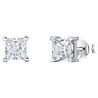 Jools By Jenny Brown Square Cut Cubic Zirconia Stud Earrings Silver