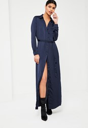 Missguided Navy Hammered Satin Maxi Shirt Dress