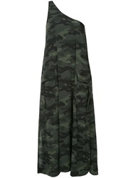 The Upside Camouflage One Shoulder Midi Dress Green