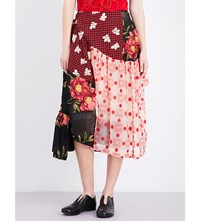 Simone Rocha Patchwork Tulle Skirt Nude Red