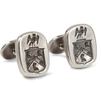 Foundwell Vintage 1950S Engraved Burnished Sterling Silver Cufflinks Silver