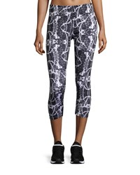 Neiman Marcus Marble Print Cropped Leggings Black White