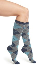 Nordstrom Women's Compression Knee High Socks Navy Argyle