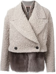 N 21 N.21 Detachable Cropped Peacoat Nude And Neutrals
