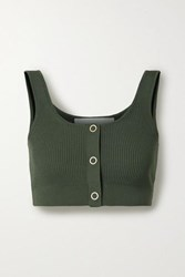 Dion Lee Pinnacle Cropped Ribbed Knit Top Army Green