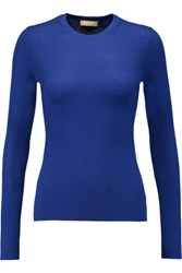 Michael Kors Collection Ribbed Knit Cashmere Sweater Cobalt Blue