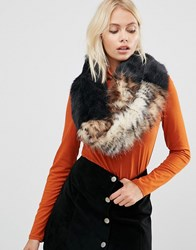 Urbancode Faux Fur Wide Shoulder Slouch Snood Black Leopard