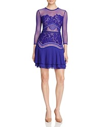 Three Floor Fortune Sheer Lace Dress Ink Blue Nude