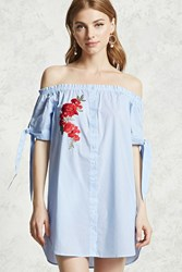 Forever 21 Applique Off The Shoulder Dress Blue Cream