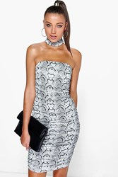 Boohoo High Neck Rouched Bodycon Dress Multi