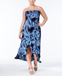 Raviya Plus Size Tie Dyed Strapless Cover Up Women's Swimsuit Navy