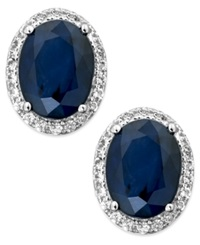 Macy's Sapphire And White Sapphire Oval Stud Earrings In 10K White Gold 3 Ct. T.W. Blue