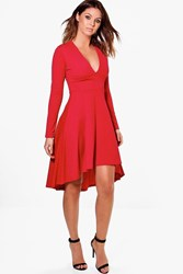 Boohoo Kia Long Sleeve Plunge Dip Hem Skater Dress Red