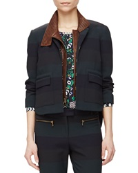 Veronica Beard Sycamore Striped Jacket W Leather Dickey