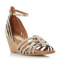 Head Over Heels Kruizer Two Part Strappy Wedge Sandals Gold