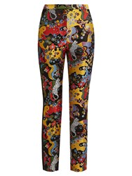 Mary Katrantzou Slick Psychedelic Jacquard Slim Leg Trousers Black Multi