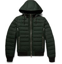 Balmain Hooded Quilted Cotton Down Jacket Foret Green Forest Green