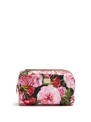 Dolce And Gabbana Rose Print Small Wash Bag Pink Multi