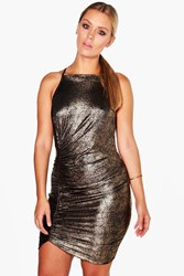 Boohoo Kirstie Shimmer Ruched Strappy Dress Gold