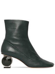 Loewe 55Mm Crystal Heel Leather Ankle Boots Green
