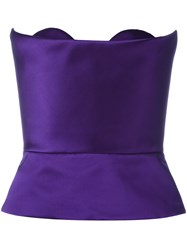 Delpozo Strapless Peplum Top Pink Purple