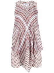 Derek Lam 10 Crosby Scarf Print Sleeveless Dress White