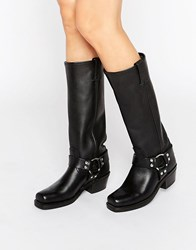 Frye Harness 15R Leather Knee High Boots Black Greasy