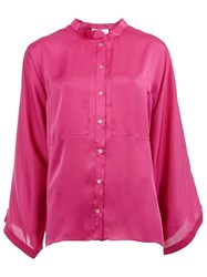 Maison Rabih Kayrouz Band Collar Shirt Pink And Purple