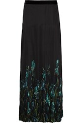 Gucci Iris Print Pleated Silk Chiffon Maxi Skirt Forest Green