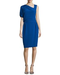 Escada Draped One Sleeve Sheath Dress Azure