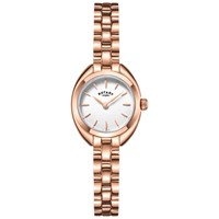 Rotary Women's Petite Bracelet Strap Watch Rose Gold White