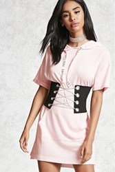 Forever 21 Chill Babe Short Sleeve Hoodie Pink
