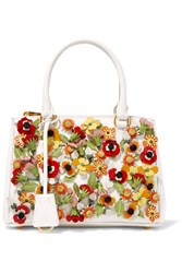 Prada Galleria Garden Mini Appliqued Textured Leather Tote Ivory