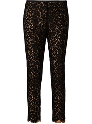 Michael Kors Floral Lace Cropped Trousers Black